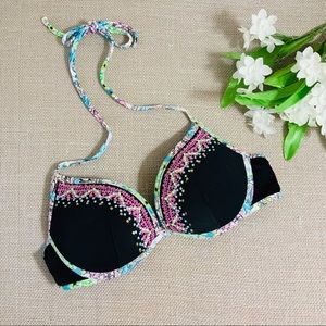 VICTORIA'S SECRET Black & Floral Sequin Bikini Top
